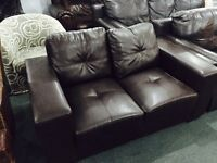 As new brown leather 2 seater sofa