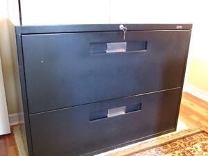 Filing Cabinet - 2 Drawer, Black Steel, Lockable