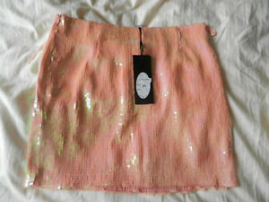 New with tag Pink sequins skirt