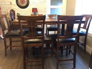 Dining table and 6 chairs (Pub Height) - Solid Wood