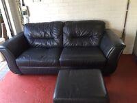 Charcoal grey leather sofa