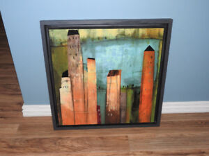 LARGE print abstract building wall hanging (frame touched up)