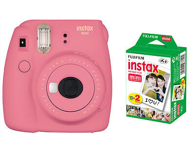 Fujifilm instax mini 9 Instant Film Camera, Flamingo Pink + 20 Mini Prints