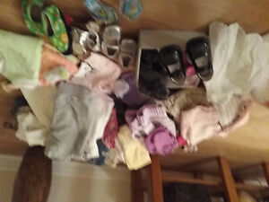 Bin of Baby Girl Brand name clothing with new diaper bag