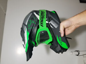 Dirtbike helmet and goggles