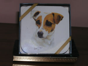 New Unused Four Jack Russell Coasters Collectible on Cork