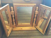 Solid Pinewood Triple Dressing Mirror