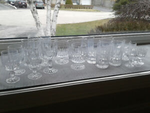 27 pieces of Crystal glass ware.