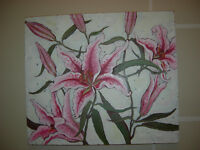 Orchid Oil Painting on Wood
