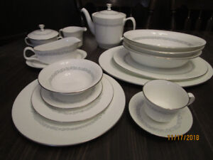 Minton Silver Scroll Bone China - complete with serving pieces