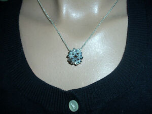 Necklace silver biface crystal Swarovski decadohedron