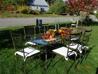 Indoor/ Outdoor Wrought Iron, Glass Top Table