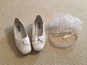 First communion shoes size 13& headpiece