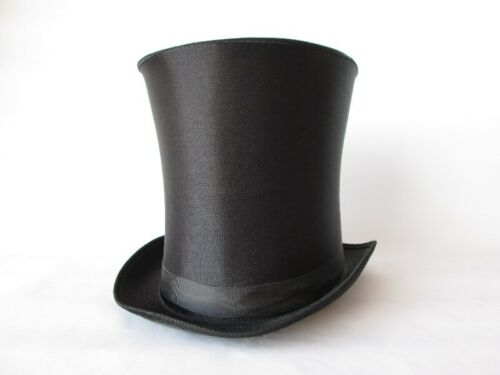 LINCOLN GENTLEMAN VICTORIAN DICKENS COSTUME TALL TOP HAT STOVE PIPE BLACK SATIN