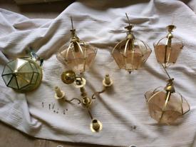 Vintage set of brass lights