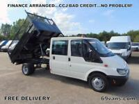 2005 FORD TRANSIT CREW CAB TIPPER, DROP SIDE, PICK UP, COUNCIL OWNER, 93K MILES