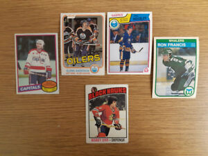 30 non-mint O-Pee-Chee hockey cards from 1980s and 1976-77 Orr