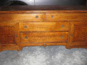 antique low oak buffet