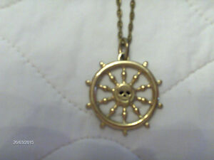 Disney Gold Chain with Pirate Ship's Wheel w Skull -Collectible Kitchener / Waterloo Kitchener Area image 2