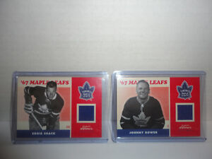 EDDIE SHACK & JOHNNY BOWER LEAFS UPPER DECK JERSEY CARDS