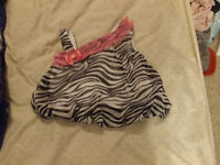 0-3 month pink and zebra dressy shirt