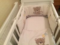 Mothercare White Baby Crib with Bedding & Mattress