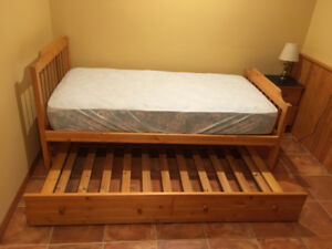 Canwood Solid Pine Twin Bed,Trundle Frame, Mattress