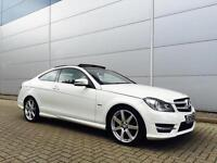 2011 61 reg Mercedes-Benz C250 2.1CDI COUPE + WHITE AMG Sport + PAN ROOF + SAT N