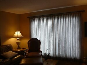 Custom pleated sheer drapes