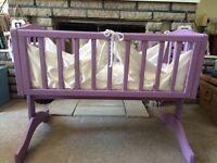 lilac vintage swinging crib