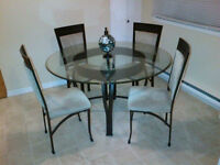 Dining Table Set with Glass 4 Seats