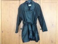 Ladies 3/4 Length Black Leather Coat Size 12/14