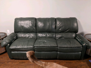 Green leather reclining couch