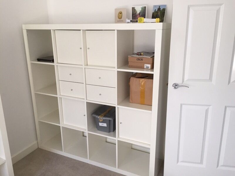 ikea kallax 4x4 shelving unit with draws drawers and cupboards white in tilehurst berkshire. Black Bedroom Furniture Sets. Home Design Ideas