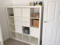 IKEA Kallax 4x4 shelving unit with draws drawers and cupboards White