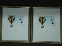 2 Cadresde bois doré avec photos de Montgolfière Art Vintage