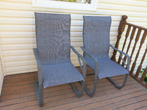 2 Lawn Chairs, metal & mesh, very study, ex cond!