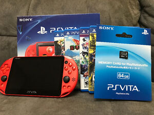 PS VITA SLIM 64GB Rouge Metallique (japan import) 4 Jeux