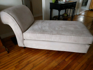 Chaise Lounge Chair, Light Beige Microsuede