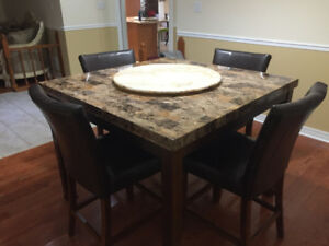 Kitchen Table with Lazy Susan + 5 chairs ($300)