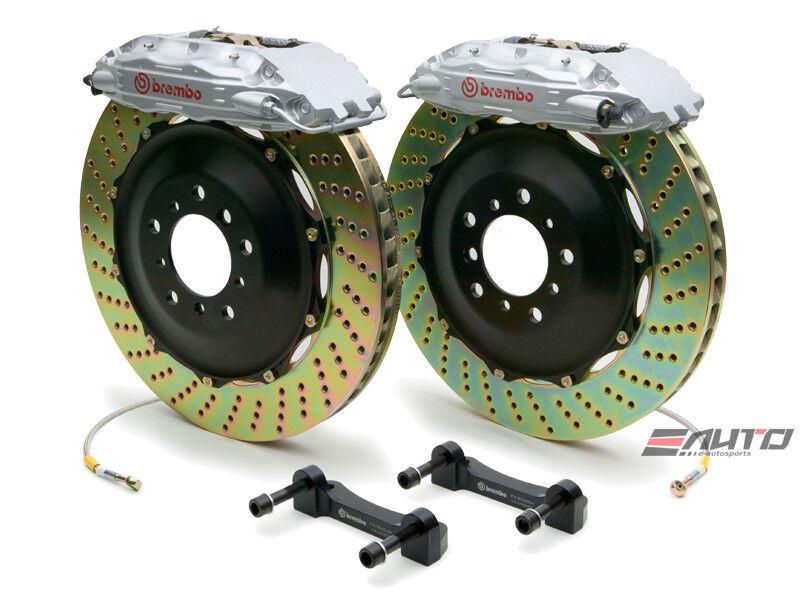 Brembo Front Gt Bbk Brake 4piston Silver 355x32 Drill Disc Rotor For Q45 02-06