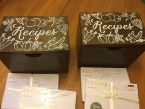 Two recipe boxes and cards