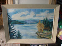 "VINTAGE J TOMPSON SIGNED ORIGINAL OIL PAINTING 25"" X 33"""