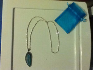 Natural Teal Agate Slice Silver Necklace