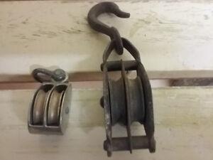 Various farm tools,Hooks , Pulleys  etc