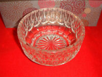 Old Crystal Embossed Base Candy Dish