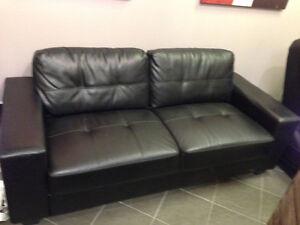 Black bonded leather sofa London Ontario image 1