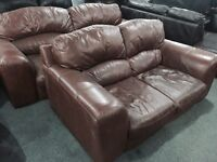 3 and 2 brown leather hide sofa set