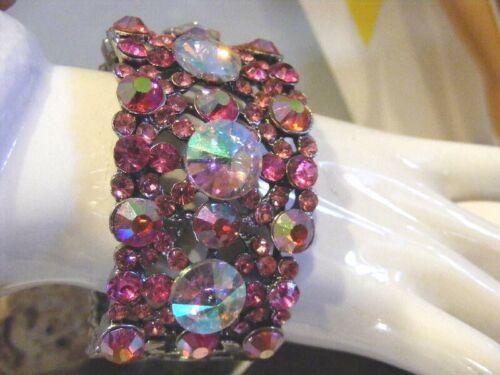 Juliana Style Clamper Bracelet Pink Crystals Wide Clusters AB Rivoli Stones Vtg