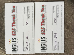 (2) $25 gifts cards to Inglis Jewlers